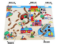 Wholesale Children s educational toys wooden maze transport cars to find parking spaces