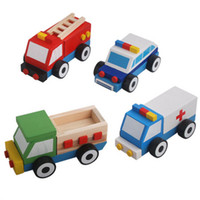 Wholesale set Child puzzle wooden car toy barrowload police car fire truck ambulance engineering car CX