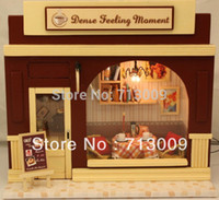 Wholesale Super Cheap Diy Toys Wooden Dollhouse Miniatures Coffee Shop Kits Christmas Gift Cute Handwork Building Blocks
