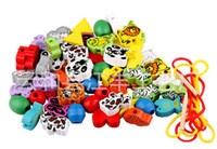 Wholesale Delivery is free love boxes wooden toys strings of beads toys series fruit animal beads children s toys