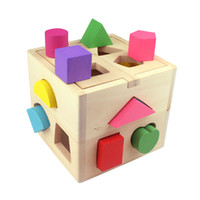 Wholesale Hot NEW Wooden Knob Puzzle Cube Shape Sorter Childrens Educational Toy