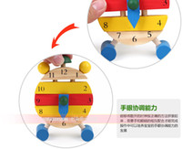 Wholesale retail clock Educational wooden toys baby kids blocks toys Early Learning building kids toy Multifunction