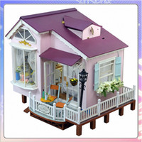 Wholesale Pakitoy DIY Wooden Large Doll House With Furniture D Puzzle Toys Dollhouses Miniature Toy Birthday Gift Honeymoon in Italy