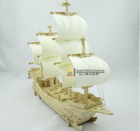 Wholesale top fasion freeshipping Wooden ship models d stereoscopic DIY assembled model toy sailboat ancient