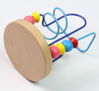 Wholesale Happy Farm Colorful Round Beads Wire Maze Wooden Toy Baby Educational Pazzle H1121Y2