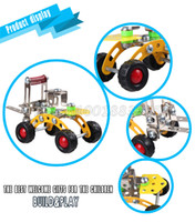 Wholesale Puzzle and metal assembling building block toy DIY alloy assembly engineering car forklift model