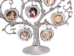 Wholesale Baby Family Zinc alloy Metal Photo Frames Gift Tree Design with Apple pendant Home Decoration