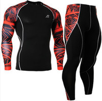 Wholesale No CPD_SET_2 FIXGEAR Skin tight Compression Base Layer Shirt Training Workout Gym MMA Long Sleeve Jersey amp Pants Leggings