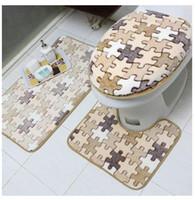 bath carpet set - new arrival Europe style toilet four piece set soft warm toilet seat cover set U shape rug rectangle bath carpet