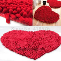 Wholesale Home Decor Products Fluffy Red Love Heart Bedroom Rug Carpet Floor Bath Mat Chenille Doormat TQ BR018