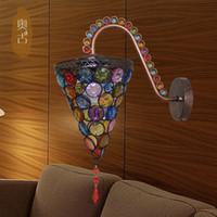 bathroom art work - Wall Tiffany Princess Mediterranean colors handmade wrought iron wall lamps bathroom single head lamp mirror front lamps N
