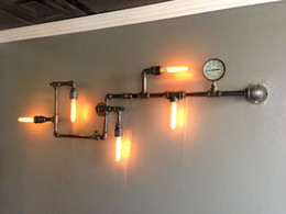 Wholesale Water pipe wall Arte lamp America vintage aisle lights loft iron wall lamp edison incandescent light bulb