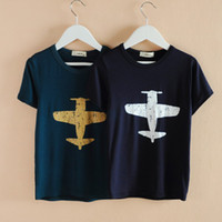 Wholesale New Summer Fashion Modal Cotton Children T Shirts Gold and White Plane Print Unisex Boys Girls Tops Child Kids Casual Tees