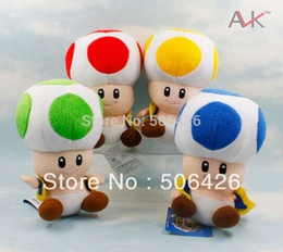 "Wholesale-Super Mario Bros Mushroom Plush Doll Toad 7"" Green ,Red,Yellow ,blue ,4color can choose"