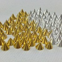 Cheap Wholesale-100PCS lot Gold And Silver Optional Cone diy acrylic 3d metal Alloy nail art decorations rhinestone Metallic Nail Studs