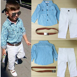 Wholesale-2015 new arrival summer boys Stripe Clothing Set kids Boy cotton shirts+long pant+belt three pieces Kids casual clothing set