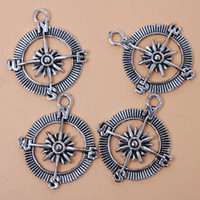 antique ship compass - New Style Compass Shape Charms Pendants Antique Silver Plated Alloy Pendants Fit Jewelry Findings
