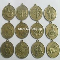 Wholesale Feng Shui set Chinese Zodiac quot cm ShengXiao Pendant Charms Amulet Coin Bronze Horoscope