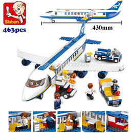 Wholesale Simple box Sluban M38 B0366 Air bus Plane aviation Building Blocks Transport enlighten aircraft vehicle Toys Bricks set for kids