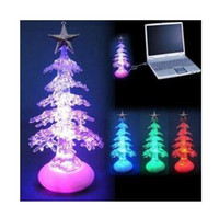 Cheap USB Crystalline Xmas tree with color changing light,with music(option) Christmas day 50pcs lot