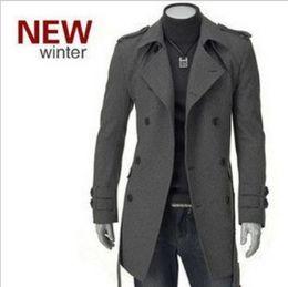Wholesale-2015 Korean fashion men male wool trench,coat,overcoat,outwear,long double-breasted,latest style M-XXXL