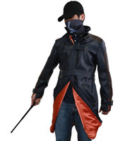 army hat costume - Watch Dogs Aiden Pearce Cosplay Coat Jacket Trench Hat Mask Stick Baton Costumes