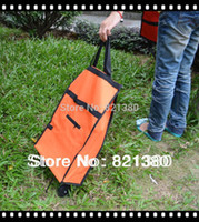 Cheap Wholesale-Free shipping Rolling folding shopping bag,portable shopping cart,foldable shopping trolley bag with wheel