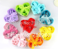 Wholesale mixed color gift bowknot wedding favor cleaning bath paper petals rose flower soap