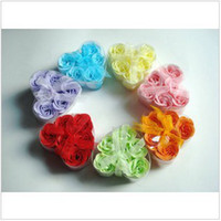 Wholesale gift washing cleaning bath rose Flower paper petals soap gift organtic wedding favor mulit color pc set bowknot