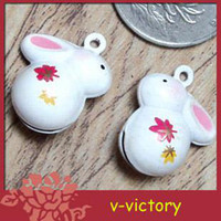 Wholesale 50pcs Easter Bunny Rabbit Animal Cartoon Shaped Boll Fancy Jingle Bell Wedding Party Craft A7