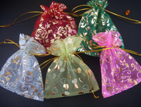 Wholesale China s ornaments Exempt freight mixed nice chinese voile gift bags x10cm