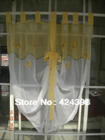 Wholesale Rustic balloon curain coffee curtain The butterfly embroidered kitchen curtains window sheer curtain tulle for windows cm