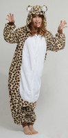 Anime Costumes adult cheetah costumes - New Adult Fleece Cheetah Animal Onesie All In One Cartoon Cosplay Party Pajamas Coplay Winter Spring Autumn Sleepwear Hooded XL