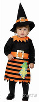 baby wizard costume - New Style Halloween Cosplay Costume Party Clothing infant baby knitted black wizard costume Black amp Orange