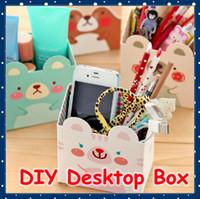 Al por mayor [SHOP FORREST] Oficina Papel de la escuela de Kawaii Papel DIY Organizador de escritorio Box / Caja de almacenamiento de escritorio de la historieta (12 PC / porción) NIF-34