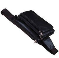 abs adjustable strap - Fashion Korean Genuine Leather Fanny Pack Waist Bag many Pockets Adjustable Strap Zipper Black Brown Bag