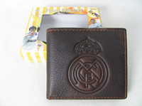 best football cards - Best quality Real Madrid FC football soccer genuine cowhide leather brown wallet holders billfold notecase pocketbook