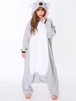 adult women onesie - All In One Animal Gray Grey Koala Fleece Cosplay Onesie Adult Female Women Men Unisex Pajamas Winter Sleepwear Halloween Costume