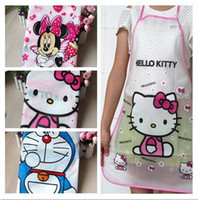Wholesale Cute Designer Animal Minnie Doraemon and hello Kity Women Girls Cooking Apron Kitchen Pocket Aprons