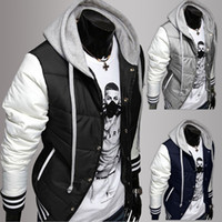 Cheap Wholesale-New Fashion Men's Leisure Hooded Spell Color Baseball Style Coat Winter Active Casual Parka Cotton Jacket W5204B