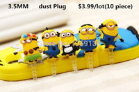 Wholesale new klick plug plugs for cell phone y mm cute despicable me minions dust earphone jack headset stopper cap