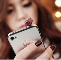 Cheap Wholesale-Min.order is $10 (mix order) Free Shipping Bead Cell Phone Accessories Phone Jewelry Heart Dust Plug Cute 00510