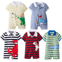 Wholesale New spring baby boys and girls romper baby cotton short sleeve rompers infants casual striped cartoon crawling clothing