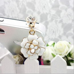 Wholesale-Romantic Flower Dustproof Plug Mobile Phone Dust Plug Sweet Girls Phone Pendants A57