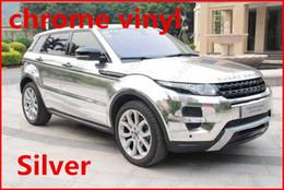 Wholesale pc M Silver chrome vinyl chrome car wrap electroplate vinyl film chrome car sticker with bubble free FREESHIPPING TTT