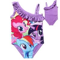 Cheap Wholesale-4-10Yrs Girls Swimwear kids Swimsuit Bathers Cartoon One-piece Tankini Bathing Bather The Elastic Fabrics my little pony Style