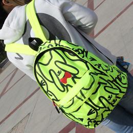 Wholesale fresh lovely cat neon green neon orange nylon backpack school student book bag casual bag and retail