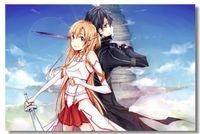 art posters online - Sword Art Online Kirito Asuna Silk Wall Poster x32 x24 x12 inch Girl Boy Room Big Prints Comic Anime SAO ALO Mural