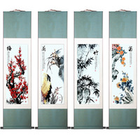 Wholesale High Quality Chinese Art Painting Merlin Bamboo and Chrysanthemum Panel Set Abstract Art Painting cm cm