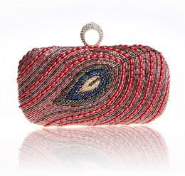 Wholesale-2015 New Stock Peacock Pearl Beads Bag Exquisite Handmade beaded evening bag Peacock Eye Clutch Bag Finger Ring Handbag 09277